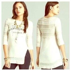 Free People Motor Soul Lace Cream Tee Small